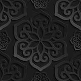 Seamless pattern black 3d paper mandala Stock Photo