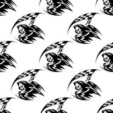 Seamless pattern of black death with scythe Stock Photo