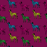 Seamless pattern, black dogs silhouettes with color dots, Dalmat Royalty Free Stock Photo