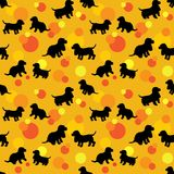 Seamless pattern with black dogs silhouettes puppy, spaniel bre Stock Images