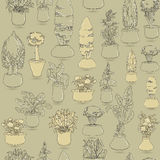 Seamless pattern with  black doodle house plants in ceramic pots Stock Images
