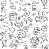 Seamless pattern of black doodles on business theme 3 Royalty Free Stock Photos
