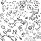 Seamless pattern of black doodles on business theme 1 Stock Image