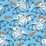 Seamless pattern with black dotted bats and  blots. Halloween background with traditional symbol. Royalty Free Stock Images