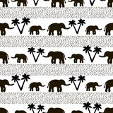 Seamless pattern with black elephants and their babies, dots, pa. Lm trees on the white background. Vector illustration Stock Photography