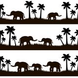 Seamless pattern with black elephants and their babies, grass, p. Alm trees on the white background. Vector illustration Royalty Free Stock Photos