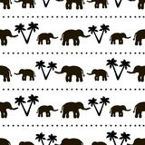 Seamless pattern with black elephants and their babies, palm tre. Seamless pattern with black elephants and their babies, circles, palm trees on the white Royalty Free Stock Images
