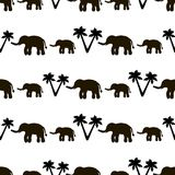 Seamless pattern with black elephants and their babies, palm tre. Es on the white background. Vector illustration Stock Photography