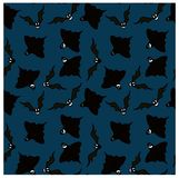 Seamless pattern of black emotional ghosts and bats on dark blue background. Stock vector illustration Stock Photography