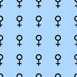 Seamless pattern with black female symbols. Female signs same sizes. Pattern on blue background. Vector illustration Royalty Free Stock Images