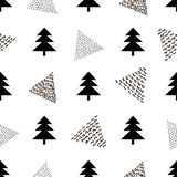 Seamless pattern with black fir and triangles on the white background. stock illustration