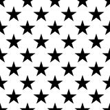 Seamless pattern of black five-pointed stars on white background. Vector illustration Stock Photo