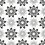 Seamless pattern with black flowers. On a white background royalty free illustration