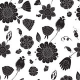 Seamless pattern with black flowers on a white background Royalty Free Stock Photo
