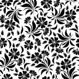 Seamless pattern with black flowers on a white background. Vector illustration. Stock Photos