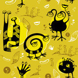 Seamless pattern of black funny monsters Stock Photography