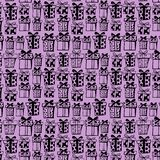 Seamless pattern with black gift boxes on violet background. vector illustration