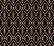 Seamless pattern with black gold hexagons and striped lines. Stock Images