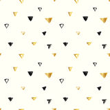 Seamless pattern with black and golden hand drawn triangles in grunge style. Vector illustration.  Vector Illustration