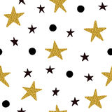 Seamless pattern with black and golden stars with black dots Royalty Free Stock Image