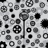 Seamless pattern with black and gray gears. Seamless pattern with black and white gears and key on a light gray background Vector Illustration