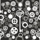 Seamless pattern with black and gray gears. Seamless pattern with black and white gears and key on a light gray background Stock Illustration