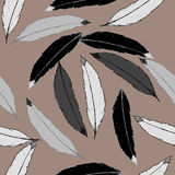 Seamless pattern with black, gray and white feathers. On brown background. Illustration can be used as computer wallpaper, backdrop or print for textiles Royalty Free Stock Photos