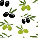 Seamless pattern with black and green olives. Vector vector illustration