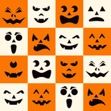Seamless pattern with black halloween pumpkins carved faces silhouettes on checkerboard background. Vector illustration Stock Photography