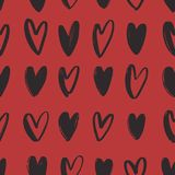 Seamless pattern with black hand drawn hearts on red background. Valentine s day backdrop with love, romance and passion. Symbols. Vector illustration for Royalty Free Stock Photo