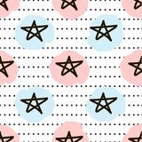 Seamless pattern with the black hand drawn stars, circles and so. Ft color spots. Vector illustration Stock Image