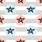Seamless pattern with the black hand drawn stars, dots and soft. Color spots. Vector illustration Royalty Free Stock Images