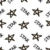 Seamless pattern with the black hand drawn stars and words Star. Vector illustration Royalty Free Stock Photos