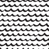Seamless pattern with black hand drawn waves in grunge style. Abstract background with wavy brush strokes. Black and white texture. Ornament for wrapping paper Stock Illustration