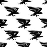 Seamless pattern with black hawks birds Royalty Free Stock Photo