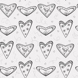 Seamless pattern with black hearts Royalty Free Stock Image