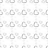 Seamless pattern with black hearts Isolated on white background. Ornament for Valentine`s day. Ink illustration. eps10. Seamless pattern with black hearts royalty free illustration