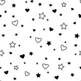 Seamless pattern with black hearts and stars. Vector illustration royalty free illustration