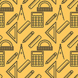 Seamless pattern with black line art icon of ruler, compasses, pencil and calculator on yellow background. Vector illustration. Background for dress Stock Photography