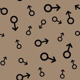 Seamless pattern with black male symbols. Male small signs different sizes. Pattern on brown background. Vector illustration Stock Photos