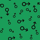 Seamless pattern with black male symbols. Male small signs different sizes. Pattern on green background. Vector illustration Royalty Free Stock Image