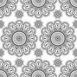 Seamless pattern with black mehndi floral henna lace buta decoration items in Indian style. Stock Photography