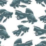 Seamless pattern with Black Moor Goldfish. Hand Stock Photography