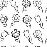 Seamless pattern from black outlines of different flowers. Vector illustrations Stock Photo