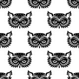 Seamless pattern with black owl Royalty Free Stock Photo