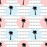 Seamless pattern with black palm trees, circles, pink and blue d. Ots . Vector illustration royalty free illustration