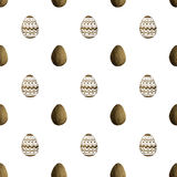 Seamless pattern with black pearly Easter eggs on white background Royalty Free Stock Image