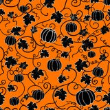Seamless pattern with black pumpkins Royalty Free Stock Images
