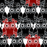 Seamless pattern with black and red owls Stock Photography