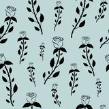 Seamless pattern with black roses on a pastel blue gray background. Print for fabric,wrapping paper,wallpaper,background for your design vector illustration